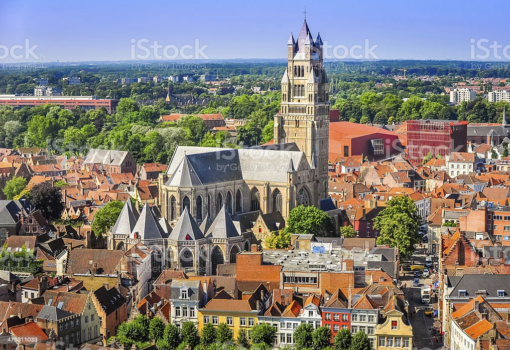 Aerial view of Saint Salvator Cathedral, Old Town Bruges stock photo