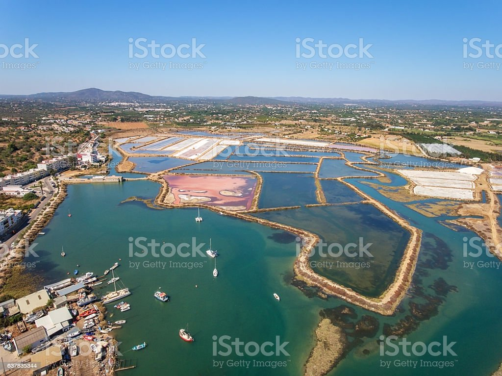 Aerial View of Salt Ponds. Fuzeta Portugal. stock photo