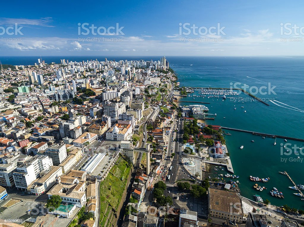 Aerial view of Salvador in Bahia, Brazil stock photo