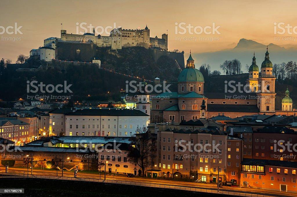 Aerial view of Salzburg, Austria at sunset stock photo