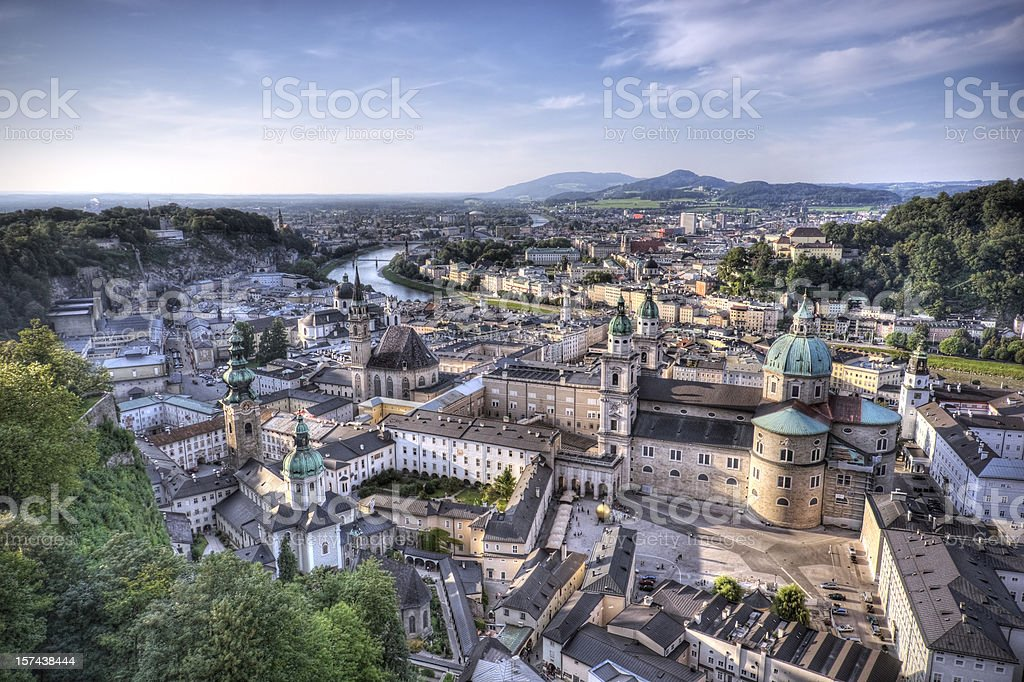 Aerial view of Salzburg Austria with mountains in distance stock photo