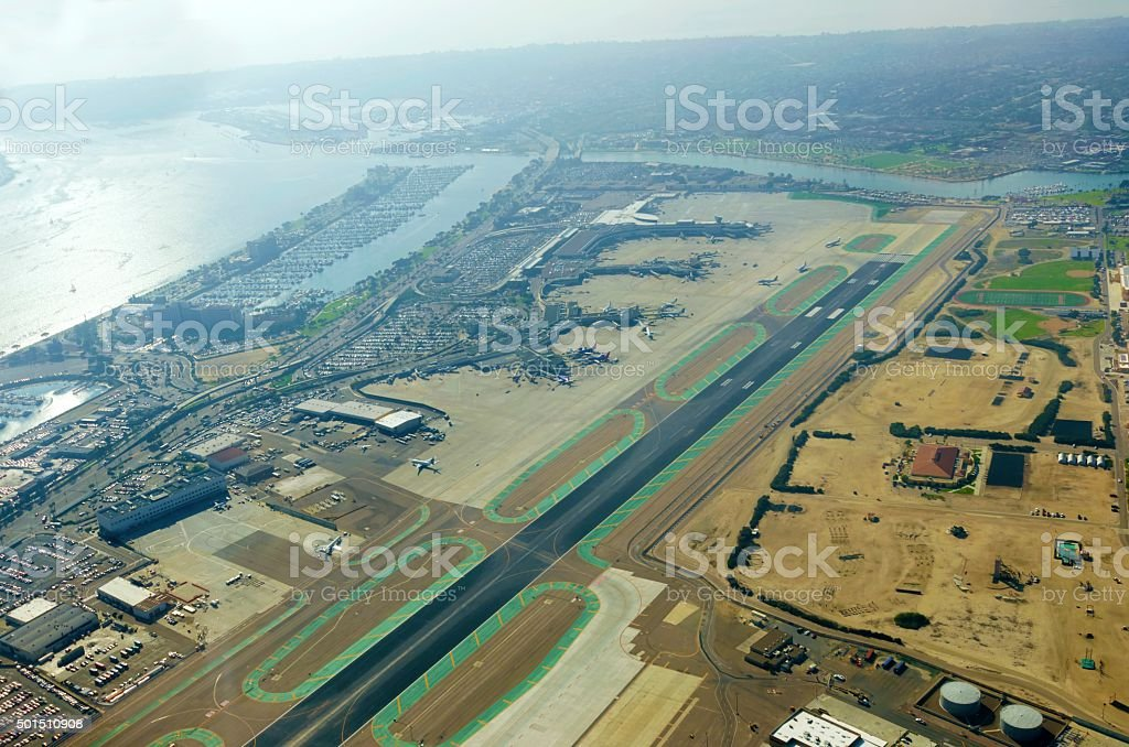 Aerial view of San Diego airport stock photo