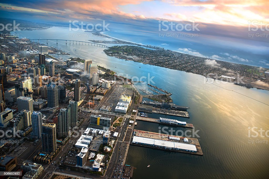 Aerial View of San Diego and Coronado stock photo