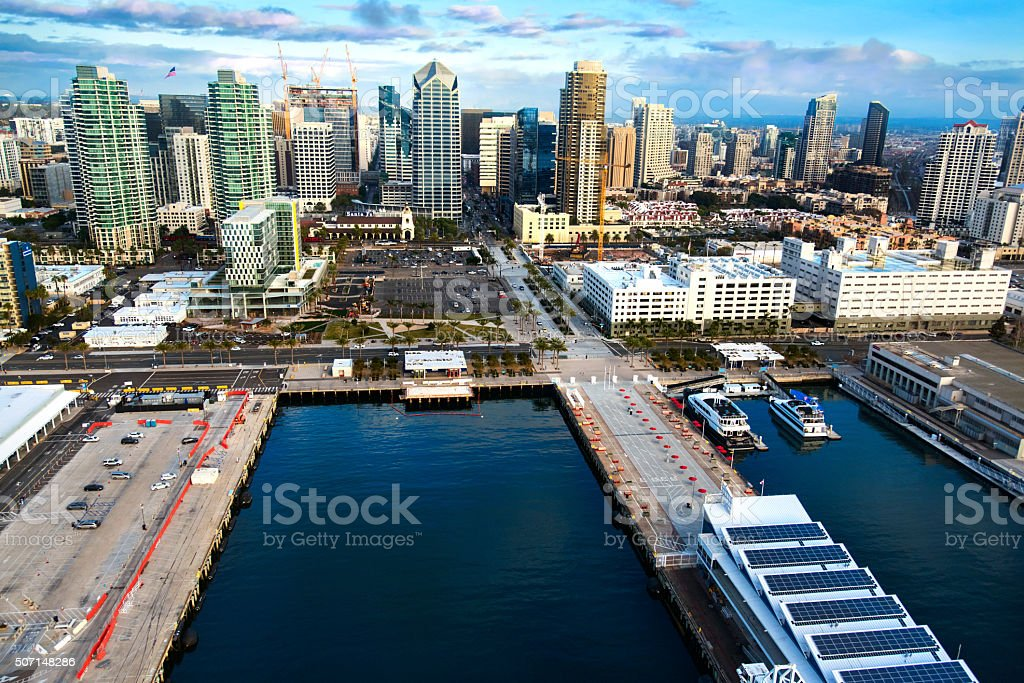 Aerial View of San Diego's Waterfront stock photo