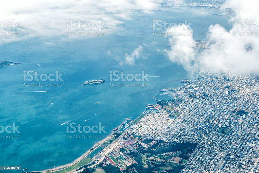 Aerial view of San Francisco and Alcatraz stock photo