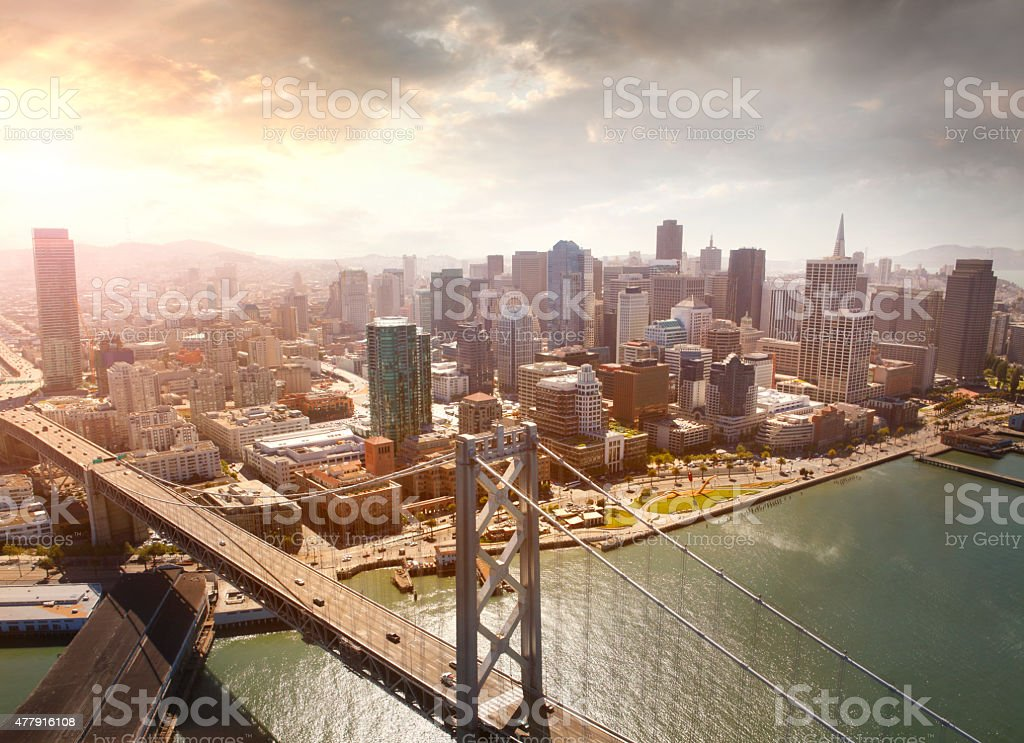 Aerial view of San Francisco and Oakland Bay Bridge stock photo