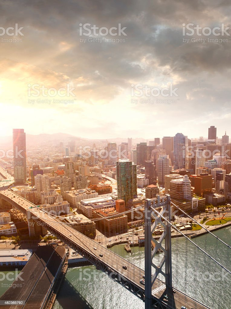 Aerial view of San Francisco and Oakland Bay Bridge stock photo