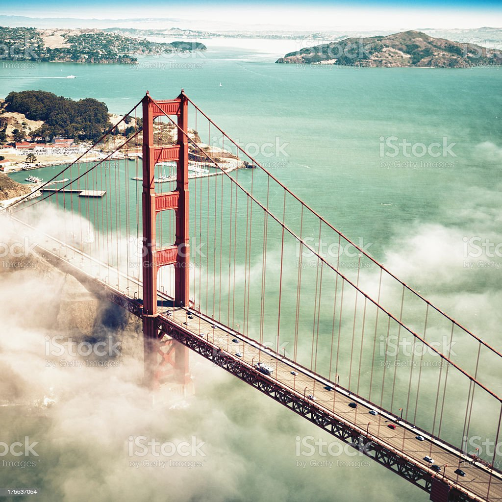 San Francisco Golden Gate Bridge from aircraft stock photo