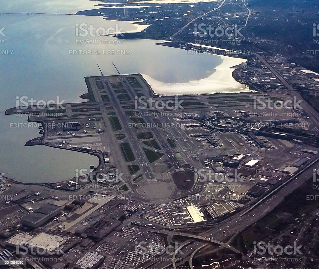Aerial View of San Francisco International Airport stock photo
