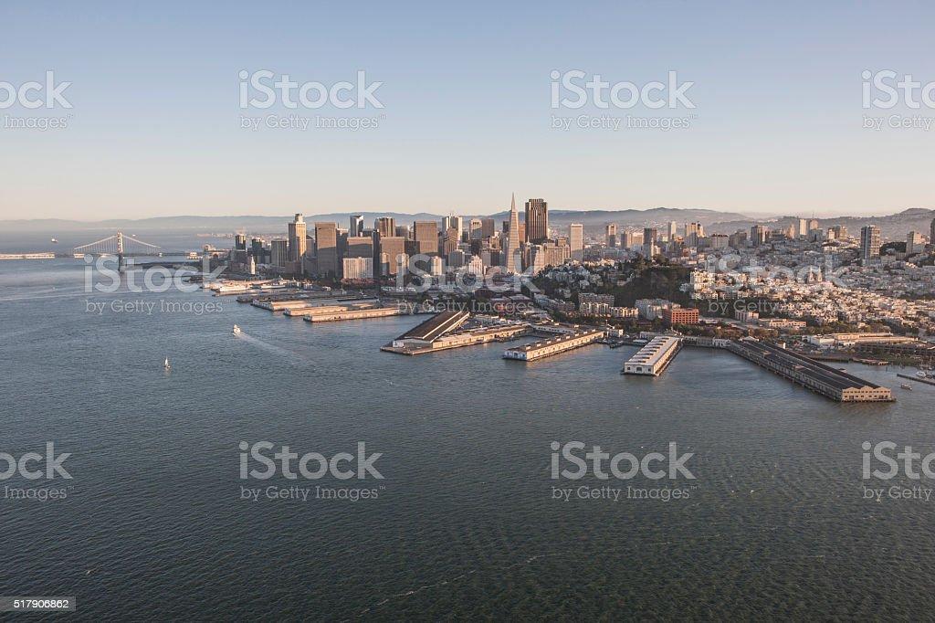 Aerial view of San Francisco Pier 39 Fisherman's wharf stock photo
