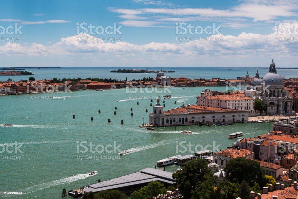 Aerial View of San Giorgio Maggiore Isle in Venice, Italy stock photo