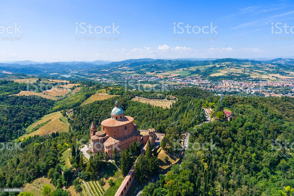 Aerial view of San Luca, Bologna. stock photo