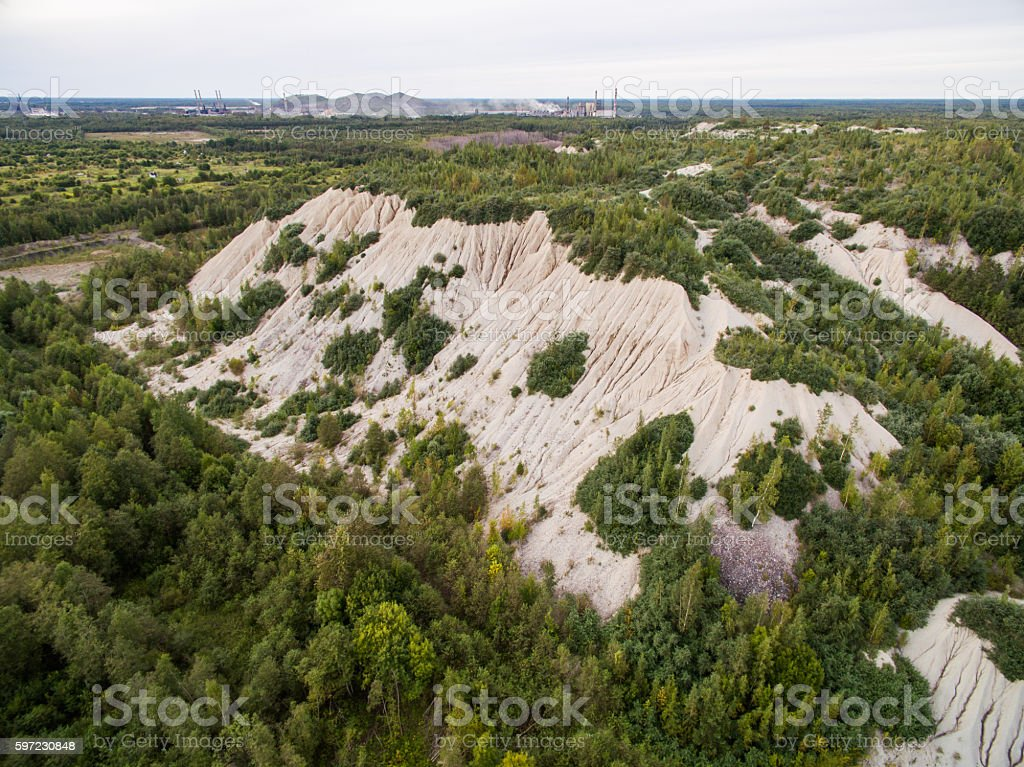 Aerial view of sand mound on the shales extraction excavations stock photo