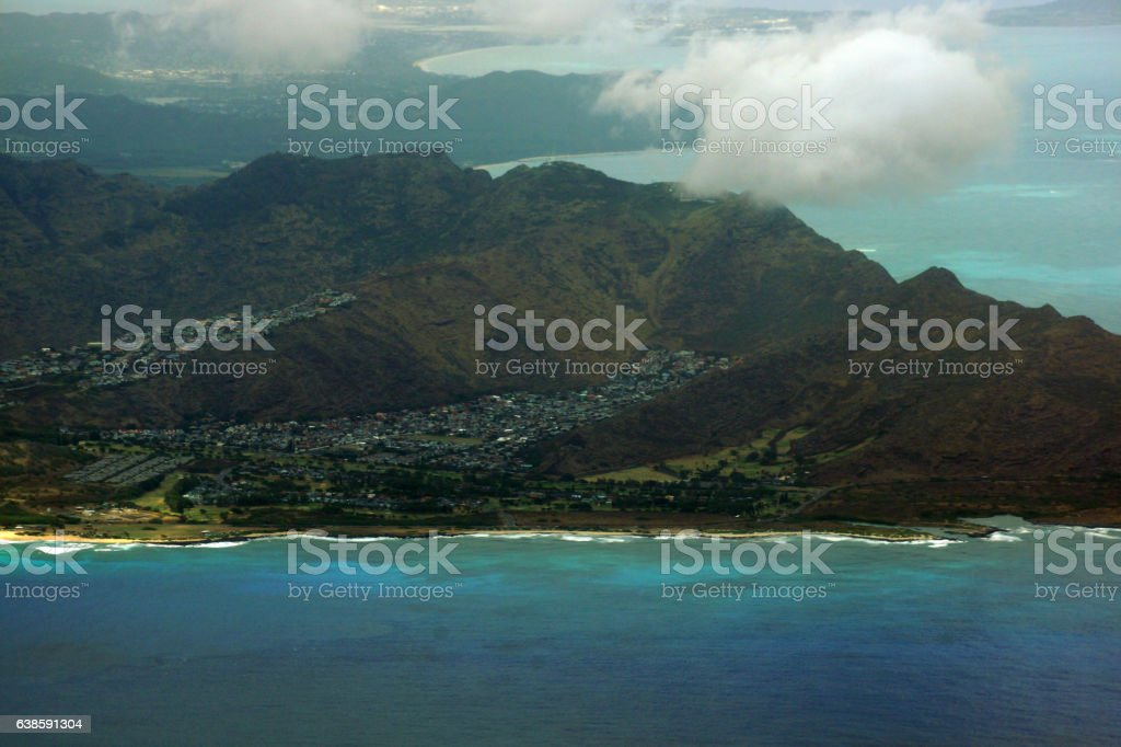 Aerial view of Sandy Beach and Koolua mountains on stock photo