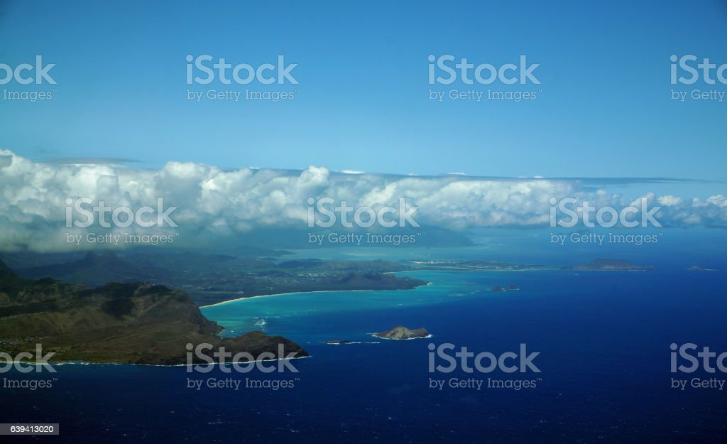 Aerial view of Sandy Beach, Rabbit and, Rock Islands stock photo
