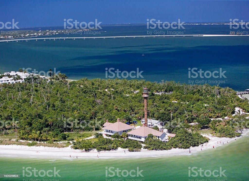 Aerial view of Sanibel Island, Florida stock photo