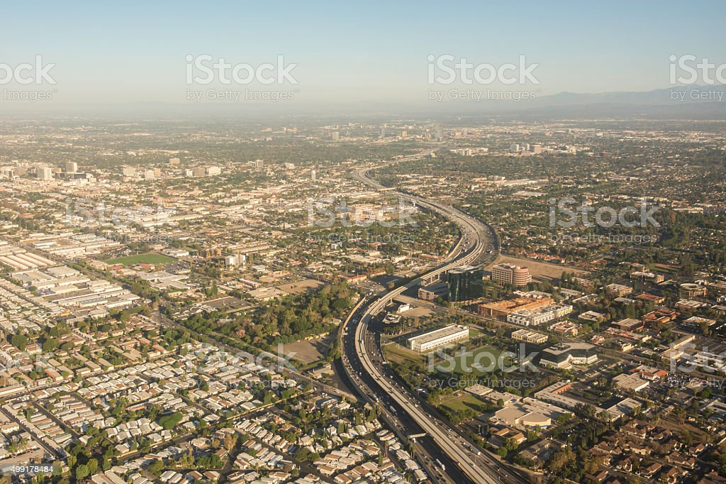 Aerial View of Santa Ana and Anaheim stock photo
