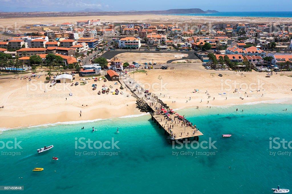 Aerial view of Santa Maria beach in Sal Cape Verde stock photo