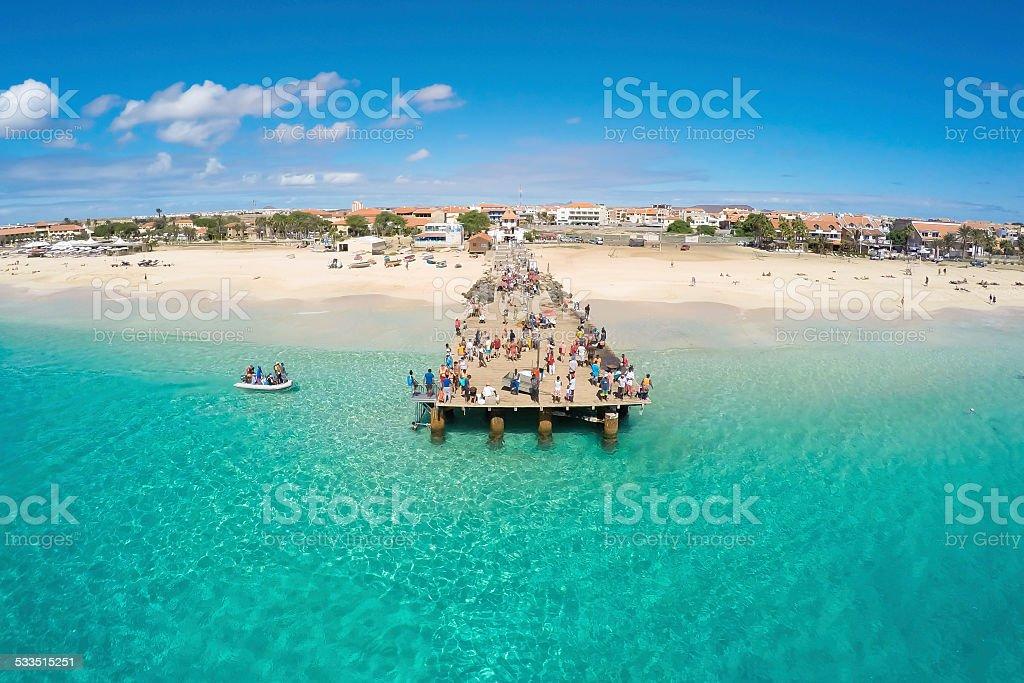 Aerial view of Santa Maria beach Sal Cape Verde stock photo