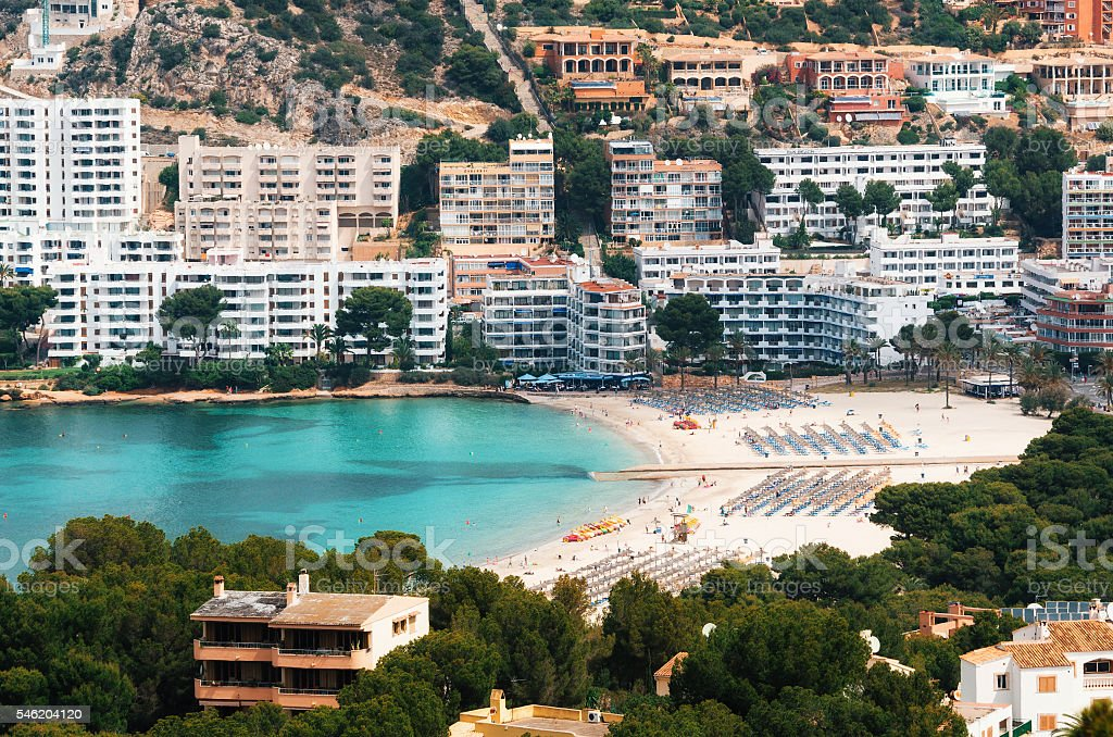Aerial view of Santa Ponsa and the beach, Mallorca stock photo
