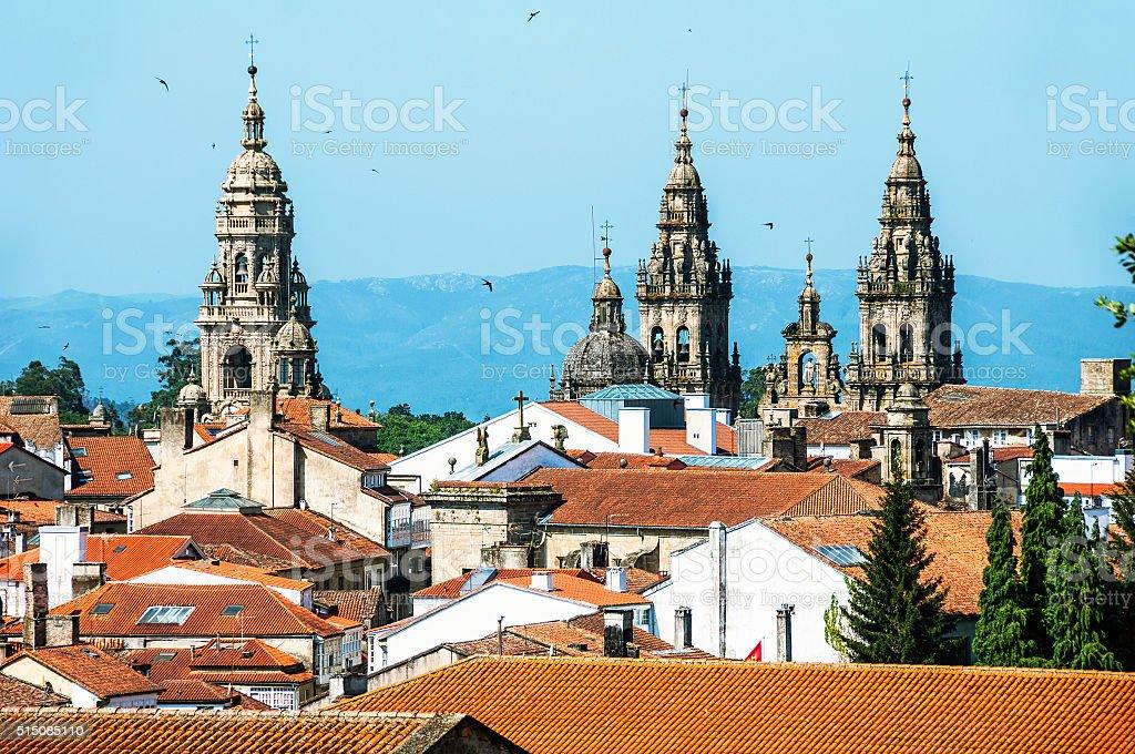 Aerial view of Santiago de Compostela Cathedral stock photo