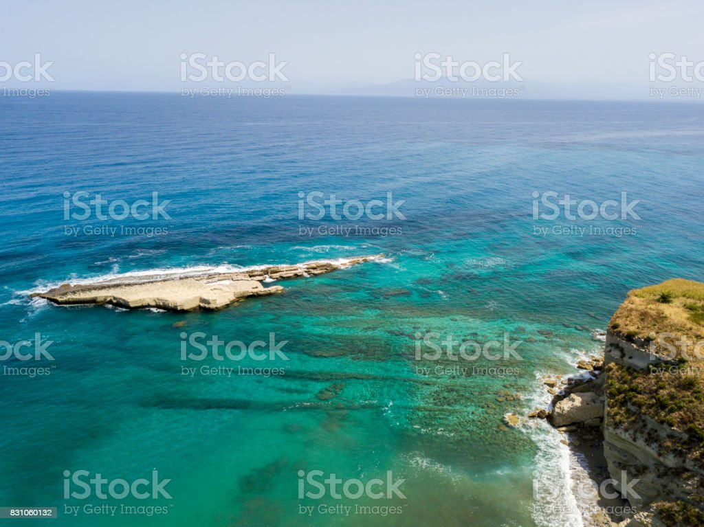 Aerial view of Sant'Irene Bay in Briatico, Calabria, Italy. Galera Rock stock photo