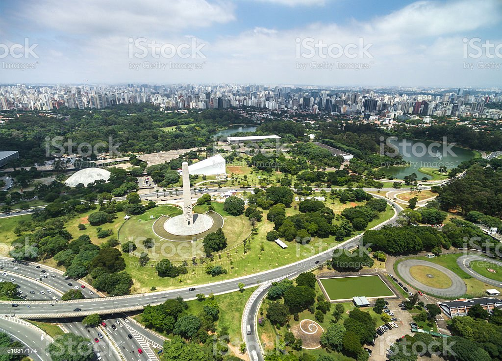 Aerial view of Sao Paulo and the Ibirapuera Park, Brazil stock photo