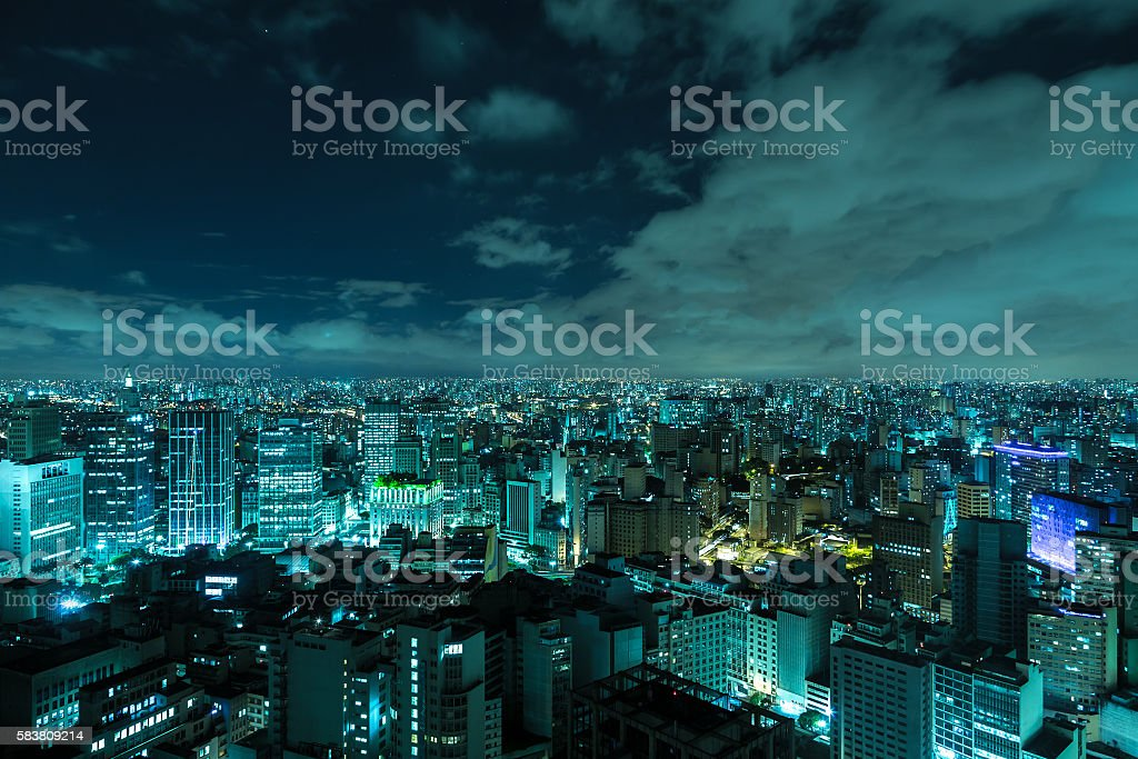 Aerial view of Sao Paulo at night in Brazil stock photo