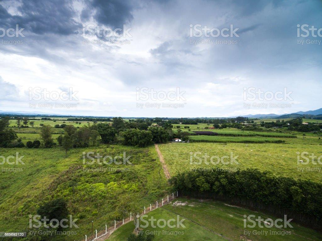 Aerial View of Sao Paulo countryside, Brazil stock photo