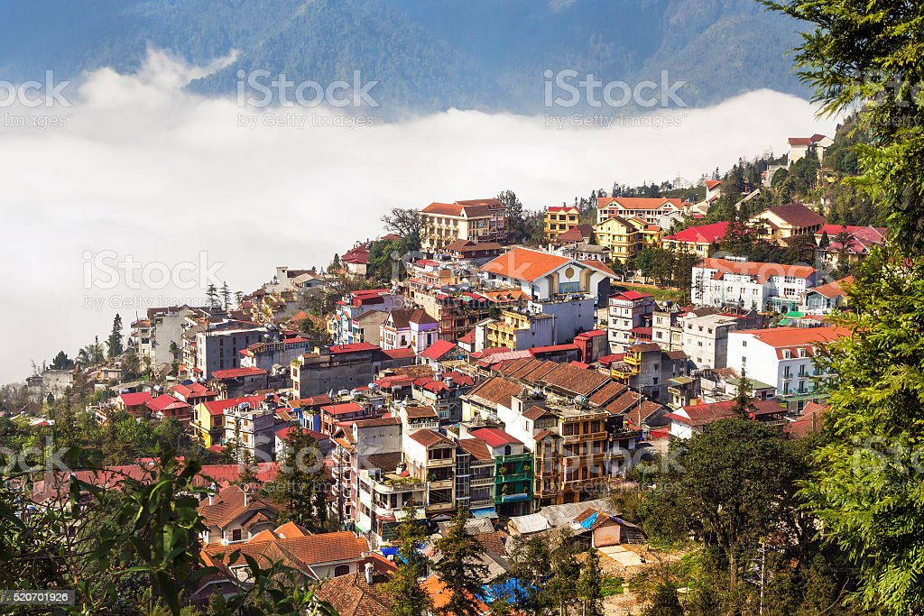 Aerial View of Sapa, Lao Cai Province, North Vietnam stock photo