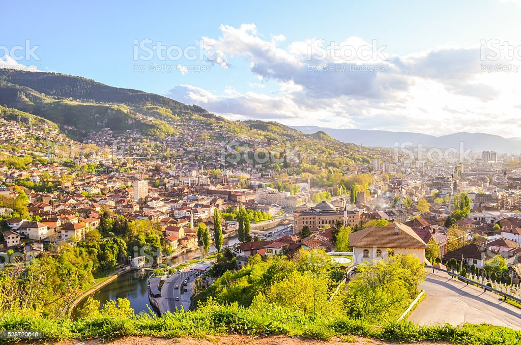 Aerial view of Sarajevo, spring sunny day stock photo