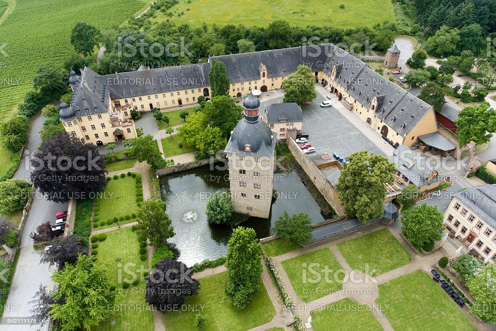 Aerial view of Schloss Vollrads - Rheingau stock photo