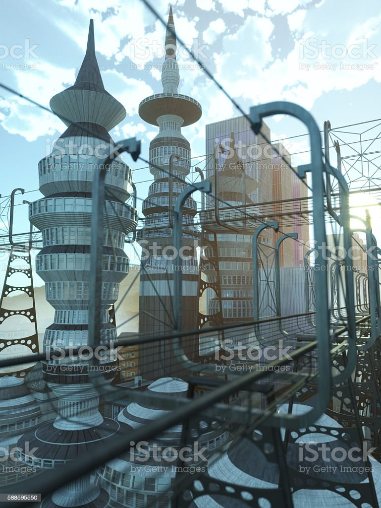 aerial view of Sci Fi City with clouds and sun stock photo