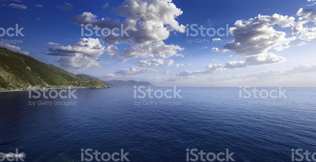Aerial view of sea against moody clouds royalty-free stock photo