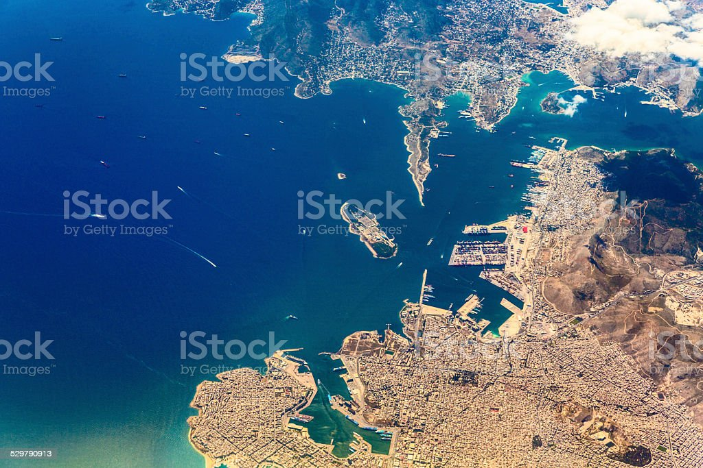 Aerial view of sea and Athens, Greece stock photo