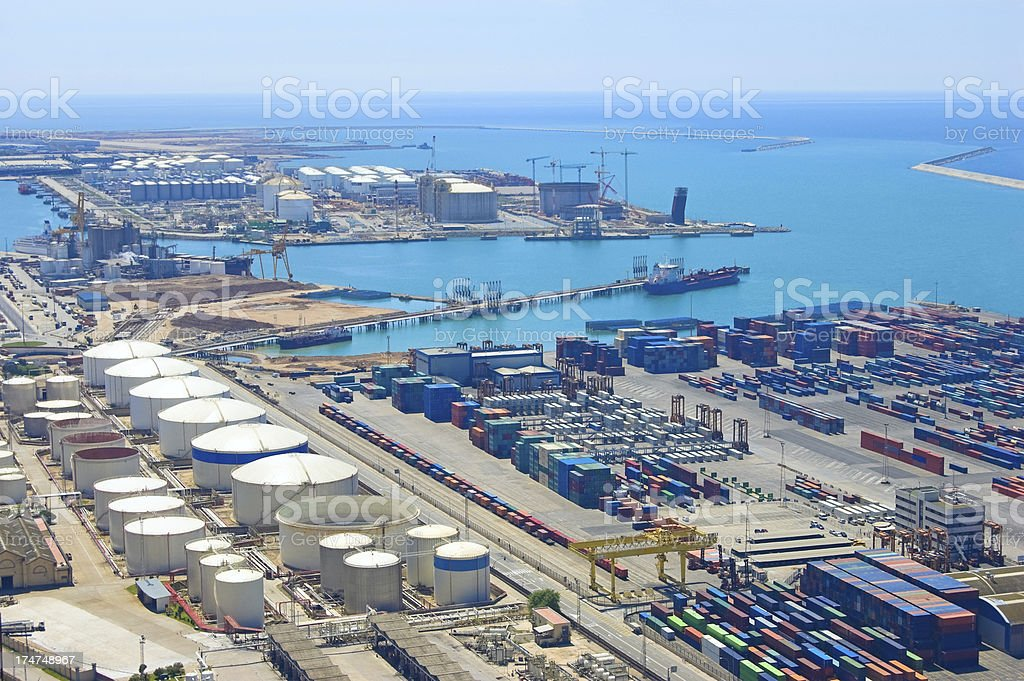 Aerial View of Sea Industrial Area stock photo