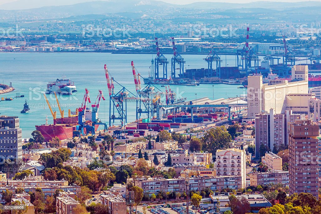 Aerial View of sea Port, Haifa stock photo