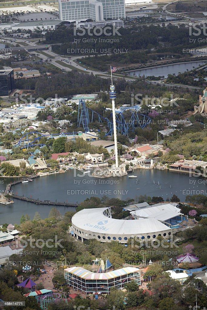 Aerial View of Sea World in Orlando Florida stock photo