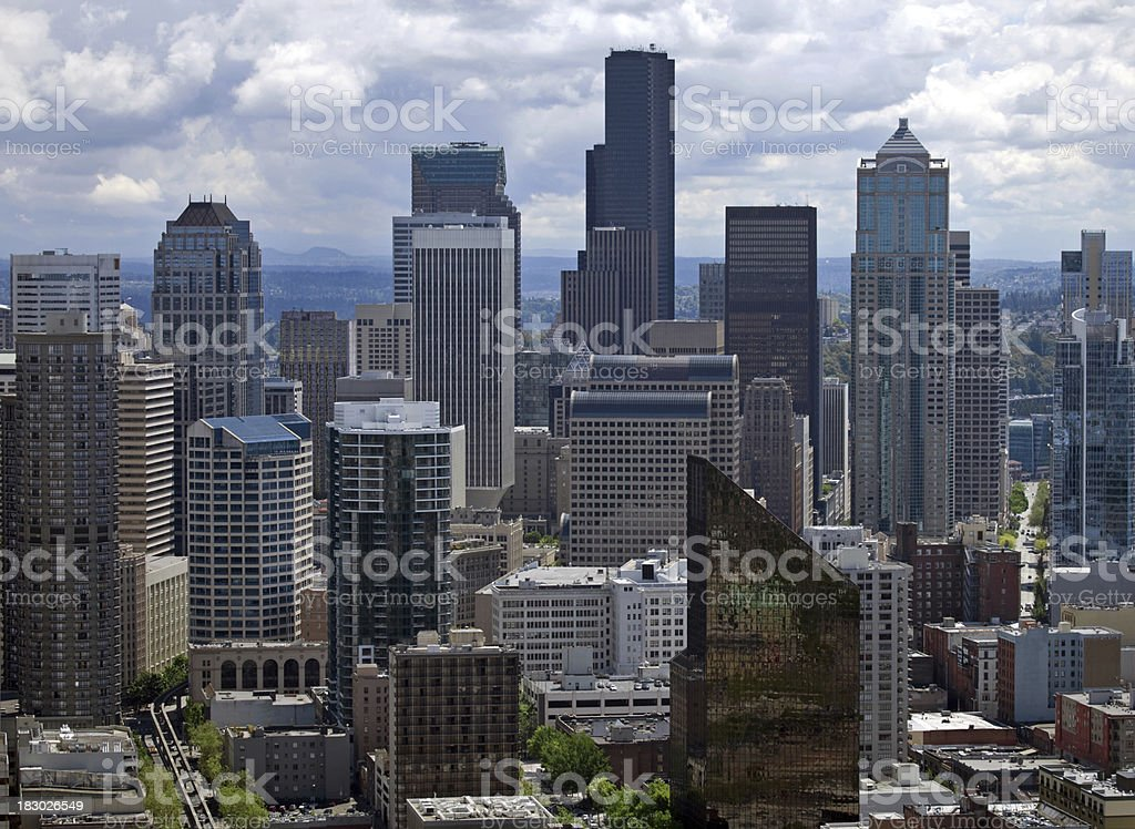 Aerial View of Seattle Washington Skyline stock photo