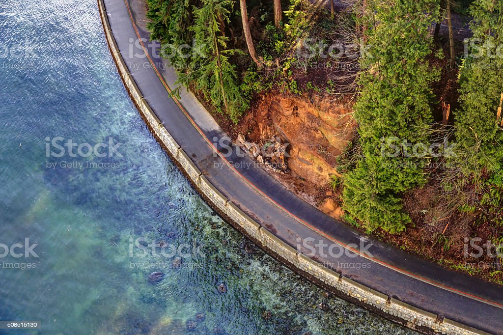 aerial view of seawall in Stanley Park, Vancouver, Canada stock photo