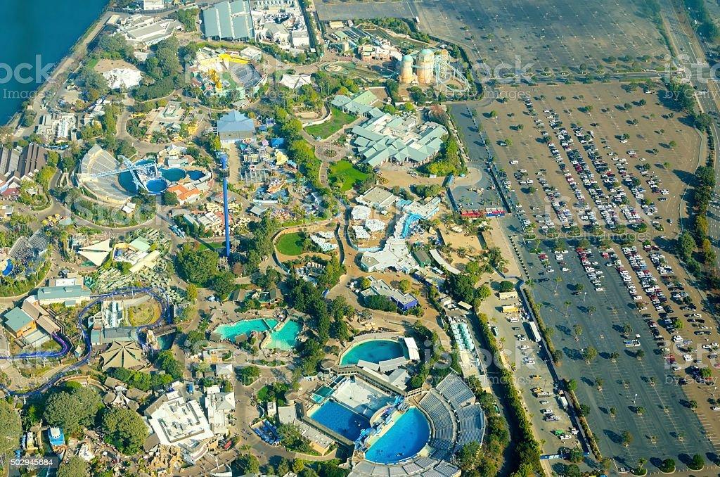 Aerial view of Seaworld, San Diego stock photo