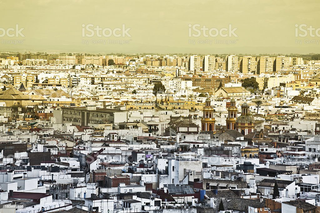 Aerial View of Seville at Sunset, Europe royalty-free stock photo