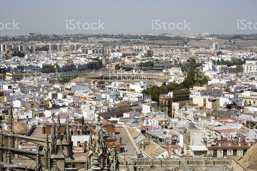 Aerial view of Seville cityscape and bullring stock photo