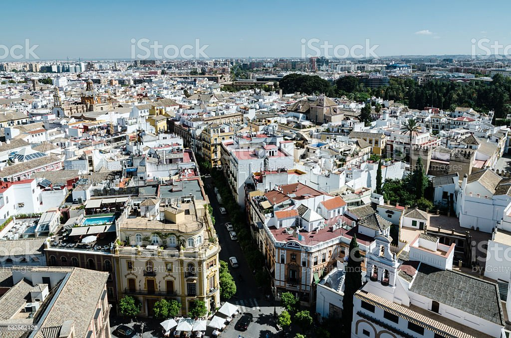 Aerial view of Seville, Spain stock photo