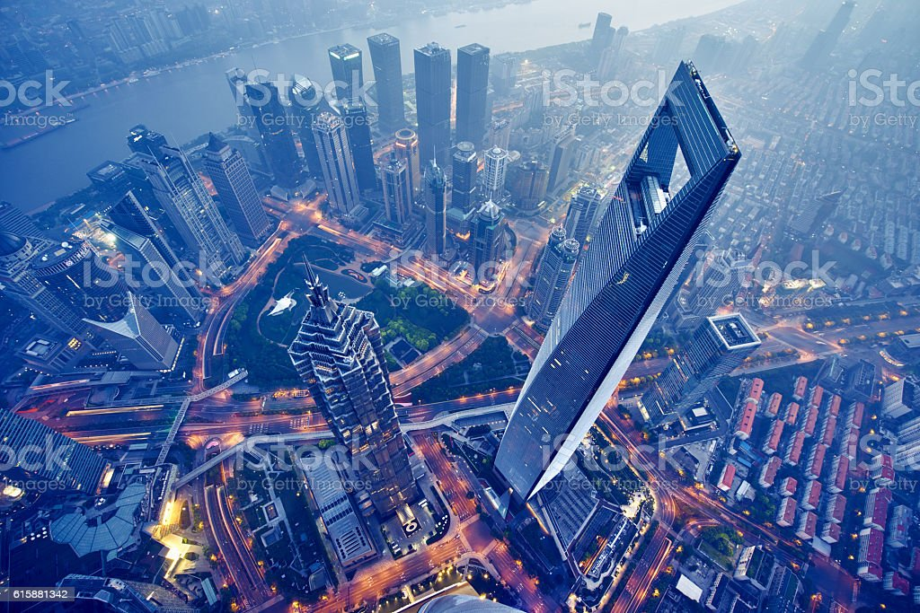 aerial view of shanghai at night stock photo