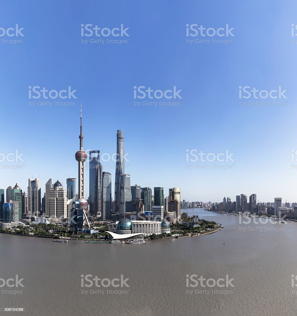 Aerial View of  Shanghai Financial District stock photo