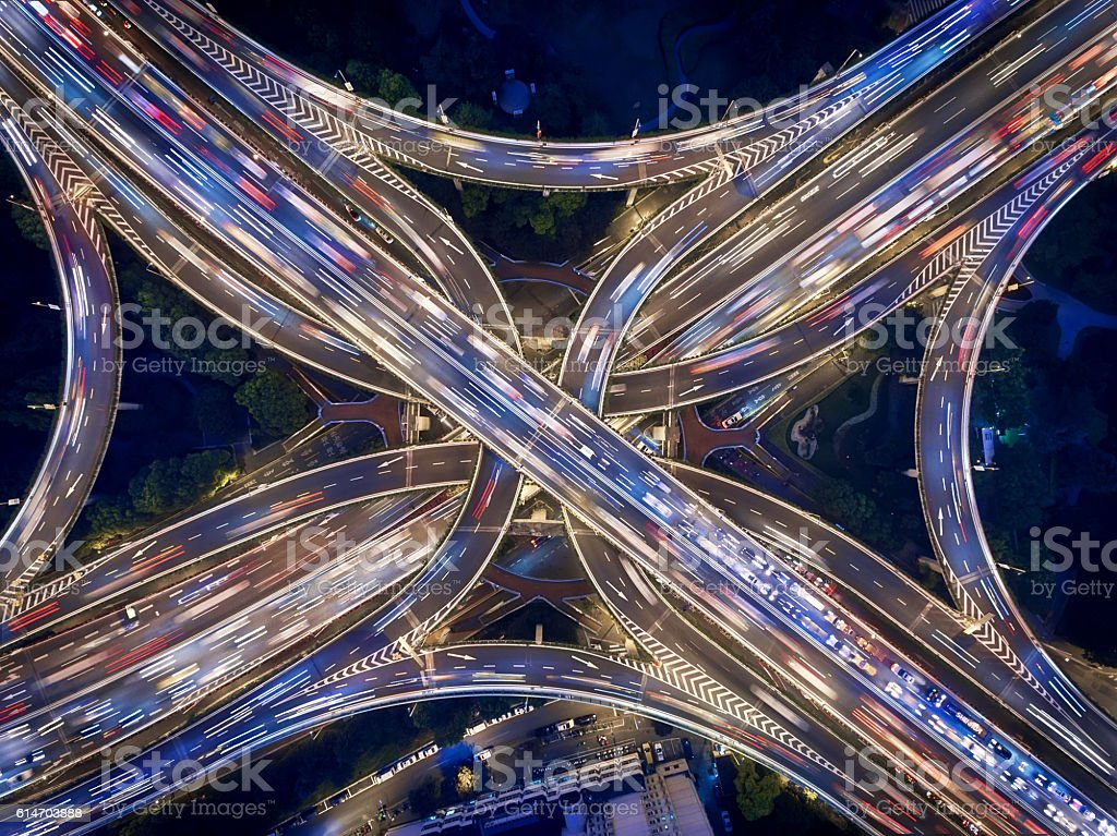 Aerial view of Shanghai Highway at Night stock photo