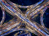 Aerial view of Shanghai Highway at Night