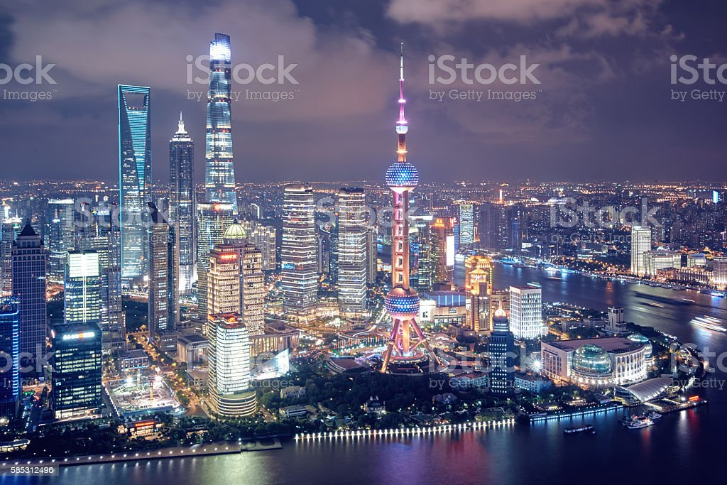 Aerial view of Shanghai stock photo