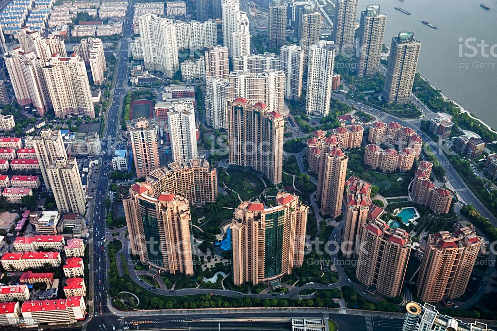 Aerial view of Shanghai residential district royalty-free stock photo
